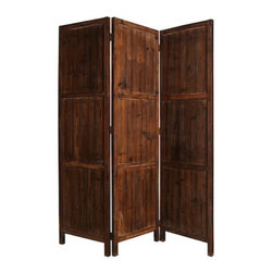 PONDEROSA SCREEN - For a rustic, natural look in your home, use this stately solid wood screen to separate the space with refinement. Each of the three panels is crafted with a rubbed, weathered finish on both sides that is incredibly handsome.