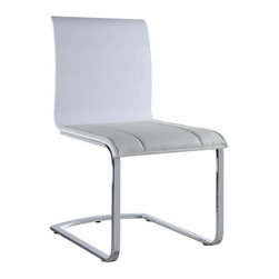 White Line Imports - Contemporary Dining Chair - Set Of 2 (White and White) - Color: White and White. Set of 2. High gloss white seat back with white leatherette seat. Chrome frame. Wipe clean with a dry cloth. Made from leatherette and chrome. Assembly required. 20 in. W x 23 in. D x 36 in. H (75 lbs.)