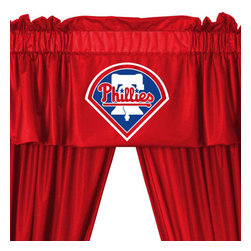 Store51 LLC - MLB Philadelphia Phillies 5-Piece Long Curtain-Drape Valance Set - Features: