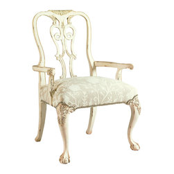 Lexington - Henry Link Oxford Square Arm Chair - Hand-carved Queen Anne design in Mahogany with cabriole legs and ball-and-claw feet. Finish: Weathered White.