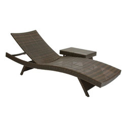 Wicker Multi-brown Outdoor Adjustable Lounge and Table - Customize the decor of your patio, backyard, terrace or lawn with the Wicker Multi-brown Outdoor Adjustable Lounge and Table. The lounger and table complement each other in design and function. You can lay back and relax on the adjustable lounge, while keeping your refreshments handy on the table. Suitable for indoor as well as outdoor use, this set features a durable construction of weather-resistant PE wicker and UV-protected material. This table and lounger have foldable legs for convenient storage.About Best Selling Home Decor Furniture LLC Best Selling Home Decor Furniture LLC is a US-based company dedicated to providing you with a wide variety of fine furniture. With sales and manufacturing offices in Europe and China, as well as the ability to ship to anywhere in the world, no one is excluded from bringing these lovely pieces home. From outdoor to indoor furniture, children's furniture to ottomans and home accessories, all your needs will be met with attractive, high quality products that will last.