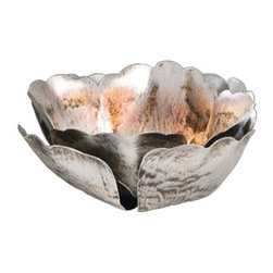 Pier Surplus - Metal Floral Tealight Holder, Medium #CL229292 - Metal shiny patina in shimmering silver with bronze and brown accents, this elegant and charming floral candle holder will light up your home and add tone and style to your lighting options. It will set you in the mood for a peaceful night or even a romantic candle light dinner. Place this unique candle holder in the bedroom or living room and let its beauty and uniqueness impart style and light to your home. Each holder resembles a flower in full bloom complete with petals.