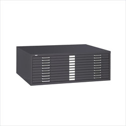 """Safco - Safco 10-Drawer Metal Flat Files Cabinet for 30"""" x 42"""" Documents - Safco - Flat Files - 4986BL - This 10-Drawer Flat File Cabinet is all business and is a space-saving means of office filing all 30 x 42"""" documents. This cabinet's files are modular so they can be used individually or in a space-saving stack and case-hardened ball-bearing rollers provide you with smooth quiet operation. Positive closures keep your drawers tightly shut while courtesy stops keep them in place while open. Keep contents clean with a rear hood and hinged front depressor."""