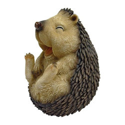 """EttansPalace - 5"""" Wide Cute Spiny Laughing Hedgehog Garden Statue: Small - Our cute hedgehog statue will steal your heart He's so adorable You'll want to give him a hug &but don't! This-exclusive hedgehog statue """"is a bit prickly"""" in quality designer resin, fully hand-painted with superior detail from adorable face to spiny body! Another quality garden animal statue from!"""