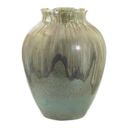 John Richard - John Richard Small Grey and Blue Reactive Glaze Jar JRA-9005 - Small, soft grey blue reactive glazed jar with irregular edges on the mouth Note: Due to glazing process no two will be identical.