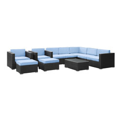 Modway Furniture - Modway Avia 10 Piece Sectional Set in Espresso Light Blue - 10 Piece Sectional Set in Espresso Light Blue belongs to Avia Collection by Modway Surround yourself with a modern landing pad of exploration. Positioned to advance your outdoor patio, backyard, or pool area, Avia helps you bestow acceleration to your outward achievements and social celebrations. Set Includes: One - Avia Outdoor Wicker Patio Coffee Table One - Avia Outdoor Wicker Patio Left Arm Section One - Avia Outdoor Wicker Patio Right Arm Section Three - Avia Outdoor Wicker Patio Armless Sections Two - Avia Outdoor Wicker Patio Armchairs Two - Avia Outdoor Wicker Patio Ottomans Coffee Table (1), Left Arm Section (1), Right Arm Section (1), Armless Section (3), Armchair (2), Ottoman (2)