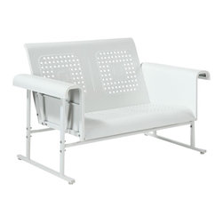 Crosley Furniture - Veranda Loveseat Glider in Alabaster White - Sturdy Steel Construction. Easy To Assemble. UV Resistant. Smooth glide rocking mechanism. Indoor/Outdoor Construction. . 31 in. W x 52 in. D x 33 in. H (84 lbs.)