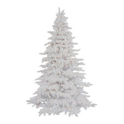 Flocked White Spruce - If you are dreaming of a white Christmas, our Flocked White Spruce artificial Christmas tree will help turn your dreams into a snowy reality. This elegant tree with its fade-resistant sturdy white needles and heavy flocking will create a lovely canvas for all of your holiday ornaments and decorations. Pre-lit with clear lights, our Flocked White Spruce is an all-white beauty that will surely turns heads this Christmas and many Christmases to come.