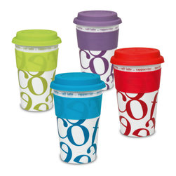 Konitz - Set of 4 Assorted Medium Travel Mugs Script Collage Color - A real eye-catcher, the Assorted Script Collage Travel Mugs have an allover, coffee-themed, jumbled letter motif on a background of contemporary color. Colored silicone lids prevents spilling or splashing.