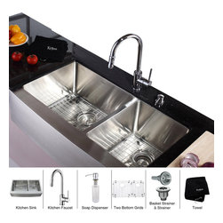 Kraus - Kraus 36 inch Farmhouse Double Bowl Stainless Steel Kitchen Sink with Chrome Kit - *Add an elegant touch to your kitchen with unique Kraus kitchen combo
