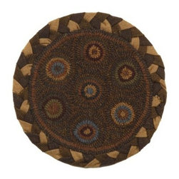 Homespice Decor In Circles 15 in. Round Chair Pad - Put a touch of hand-hooked primitive style under your guests with the Homespice Decor In Circles 15 in Round Chair Pad. Wedgewood olive camel and browns combine within a braided border for easy coordination in a variety of spaces. About Homespice DecorProducing quality homemade products since 1998 Homespice Decor has become an industry leader in braided rugs (outdoor indoor wool cotton) and has expanded its line to include penny rugs rag rugs and its newest - Supernova rugs - which feature a swirling star braid design. Formerly known as J Quilts Company Homespice Decor shifted its focus from quilts to rugs pouring itself into the intricate details of braided rug craftsmanship. Homespice Decor is committed to providing affordable braided rugs of the highest quality in an abundance of sizes and styles.