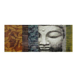 Oriental Furniture - Buddha Statue Canvas Wall Art - A high quality photograph of a Buddha statue spliced with blocks of red, blue and beige patterns for a collage style work of art. Display together as a triptych or individually for a splash of soft color and Asian decor.