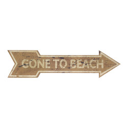 """iMax - Beach Break Wall Decor Sign - Take a break from traditional wall decor with this """"Gone to Beach"""" wood signage. A wonderful addition to any coastal interior."""