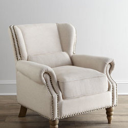 "Horchow - Mariko Armchair - Petite armchair with gently reclined back and comfy lumbar pillow is wrapped in natural cotton/linen upholstery accented with oversize nailhead trim and turned legs. Handcrafted of select hardwoods. Cotton/linen upholstery. 31.5""W x 35.5""D x 33.5""T....."