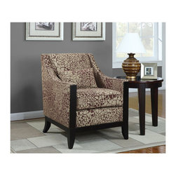 "Coaster - ""Coaster Accent Chair, Giraffe Print"" - ""This stylish patterned accent chair is perfect for any room. Featuring a decorative wood trim on the front, wood legs and a matching lumbar pillow.Dimensions (W x L x H): 34.00"""" x 29.00"""" x 35.00''Seat Depth: 20.00''Upholstery Material: Woven FabricFinish/Color: Giraffe patternAssembly Required: NoMade in China"""