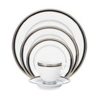 Noritake - Noritake Austin Platinum 5-Piece Place Setting - This Austin Platinum dinnerware is crafted of porcelain and features bands of platinum, black, and platinum dots. Finished with a platinum band etched with an infinite scroll design, this beautiful dinnerware is sure to dress up a table setting perfectly.