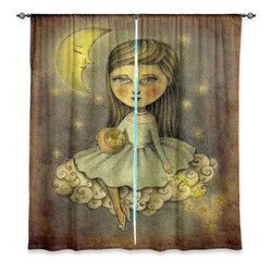 """DiaNoche Designs - Window Curtains Unlined - Amalia K. With the Stars Above - Purchasing window curtains just got easier and better! Create a designer look to any of your living spaces with our decorative and unique """"Unlined Window Curtains."""" Perfect for the living room, dining room or bedroom, these artistic curtains are an easy and inexpensive way to add color and style when decorating your home.  This is a tight woven poly material that filters outside light and creates a privacy barrier.  Each package includes two easy-to-hang, 3 inch diameter pole-pocket curtain panels.  The width listed is the total measurement of the two panels.  Curtain rod sold separately. Easy care, machine wash cold, tumbles dry low, iron low if needed.  Made in USA and Imported."""