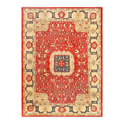 Nazmiyal Antique Rug Collection - Consigned Gorgeous Red Antique Indian Agra Rug by Nazmiyal - Located in the Uttar Pradesh state in northern India, Agra is most widely recognized for the Taj Mahal, the Mughal Emperor Shah Jahan's mausoleum for his third wife. Less widely known is that it has also been a large center for rug weaving since the 16th century. When Agra first became the Mughal capital in 1566, so too did it establish its presence as a rug weaving center. Production of fine rugs continued here through the decline of the Mughal empire in the 17th century after which most Agra rugs were categorized as Indo-Isfahan weavings. Although later rugs do derive patterns from their predecessors, the changing style of Agra carpets can be most clearly seen during the British rule of the 19th and 20th centuries. Production ceased after the 1920s but resumed again in more recent times.