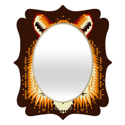 "DENY Designs - Chobopop Geometric Tiger Quatrefoil Mirror - Mirror, mirror on the wall. Whos the fairest one of all? Well thats easy our quatrefoil mirror, of course! With a sleek mix of engineered wood trim thats unique to each piece and a glossy aluminum frame, the quatrefoil mirror makes you feel oh so pretty every time you catch a glimpse.Features: -Quatrefoil mirror. -Chobopop collection. -High gloss aluminum with UV resistant coating. -Engineered wood frame. -Quality glass mirror. -Includes wire mount with picture hanger and one C battery. -.Dimensions: -14.2"" H x 16.6"" W x 1.5"" D: 10 lbs. -23.6"" H x 28"" W x 1.5"" D: 15 lbs. -30.6"" H x 36"" W x 1.5"" D: 20 lbs."
