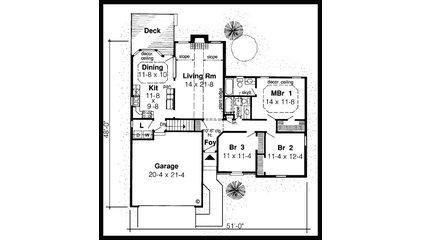 House Plan 20154   Ranch Traditional Plan with 1420 Sq. Ft., 3 Bedrooms, 2 Bathr