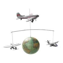 """Authentic Models - Authentic Models Around the World Mobile - This model is a graceful ensemble of three historically significant airplanes of 1920s and 1930s. These aircraft carriers are- Mae, Pan Am China Clipper, and the Douglas DC3. The three planes inter connected with the globe by fine stainless steel represents a unique and bolstering statement. Dimension of this item measures 26""""W x 15.75""""H. Basically, all these three aircrafts revolutionized the flight industry during World War - I and World War - II era, hence this model is a flattering tribute to the three masterpiece technologies.     Around the World Mobile holds together replica of three great wooden planes.   This models glide around a globe of 1920s.   Easy assembly and the fact that its hand made is an addition to the standout feature of AP124.   Dimension: 13.6"""" (L) X 26"""" (W) X 15.7"""" (H) Inches"""