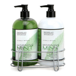 Mint Sink Set - A stainless steel caddy containing two wide pump bottles makes the perfect housewarming gift: practical for the kitchen, bath, or mudroom, yet elegant and tasteful, too. The Mint Sink Set clears away kitchen or gardening odors with a refreshing herbal mint scent, while its formula hydrates the hands as it cleanses for a youthful, well-cared-for appearance.