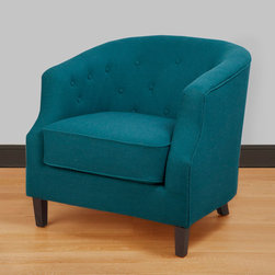 None - Ansley Peacock Blue Tub Chair - Peacock blue and tufting! The right room could pull this off beautifully.