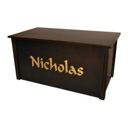 Wood Creations Espresso Finish Calligraphy Lettering Toy Box - Give your child a lasting treasure with our Personalized Toy Box. This beautiful box is made from a solid Birch frame with birch veneer paneling and finished in espresso. A satin finish clear topcoat provides a durable shine that stands up to everyday use and helps protect the wood from moisture and wear and tear. This toy box features a safety-hinged lid which stands open at any height and will not slam closed so your child can use it safely.Personalize your toy box with up to 10 letters in your choice of charming fonts. The letters are stenciled on with decorative calligraphy and are centered across the front of the toy box. Your choice of upper and lower case letters. The Personalized Toy Box is a handcrafted treasure that will spell out your love for years to come.Assembly Required. The Personalized Toy Box comes ready to assemble and requires a regular and Phillips head screwdriver.About Wood CreationsWood Creations Inc. a family-owned business produces handcrafted toyboxes and blanket chests in Bismarck North Dakota U.S.A. Wood Creations also offers manufactured toyboxes which have some of the same great personalization features as the handcrafted toyboxes at a more affordable price. Committed to customer satisfaction Wood Creations' toyboxes and blanket chests are heirloom quality and built to last a lifetime.