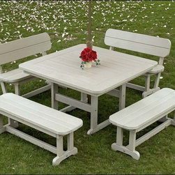 Fifthroom - POLYWOOD Commercial Square Picnic Table - You never know where you may see our 48� Commercial Square Picnic Table.  It may turn up on the patio of a restaurant, outside an ice cream stand, in your local park, or outside your office building.  Indeed, this table is a commercial favorite.  With its traditional design, it evokes an air of old-time charm and wholesome family fun.  At the same time, its construction from Polywood, a maintenance-free, nearly indestructible material, makes it a great investment that will retain its good looks and structural integrity indefinitely.