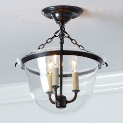 Hundi 3-Light Flushmount, Bronze Finish - This chandelier is a great semi-flushmount when you have limited ceiling height.