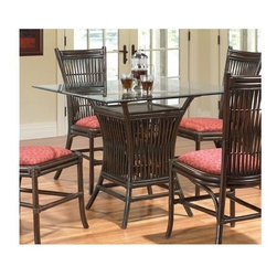 Boca Rattan - Bali Rattan Dining Table w Glass Top in Coffe - Fabric: 641Table glass top included. Indoor use only. Surfboard Bevel glass table top. Leather binding. Constructed from strong and durable rattan. Dining table: 21 in. L x 21 in. W x 30 in. H (50 lbs.), Glass top: 40 in. x 40 in.