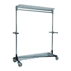 "Quality Fabricators - Heritage Z-Rack Heavy Duty 60"" Long Base, Top Shelf, Bottom Shelf - Heritage Z-Rack"" Heavy Duty 60"" Long Base, Top Shelf, Bottom Shelf, 5"" Casters, 5"" Revolving Bumper, and 2 Steering Handles Black"