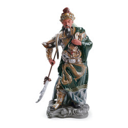 """Lladro Porcelain - Lladro Ancient Dynasty Warrior Figurine - Plus One Year Accidental Breakage Repl - """" This is a portrait of a historical chinese warrior called Guan Yu, living from 220 to 280 and who is called in history and literature General of the Three Kingdoms. He is always portraited with a bright red face, long black beard and a guan dao (pole sword) in his hand. Guan Yu is as famous and powerful today as he was in the past; therefore it is fitting that practitioners of traditional Chinese martial arts extend their respect to this acknowledged protector of righteousness, of the training hall, of the theater, of the home and of the small family business.   Hand Made In Valencia Spain - Sculpted By: Juan Carlos Ferri Herrero - Included with this sculpture is replacement insurance against accidental breakage. The replacement insurance is valid for one year from the date of purchase and covers 100% of the cost to replace this sculpture (shipping not included). However once the sculpture retires or is no longer being made, the breakage coverage ends as the piece can no longer be replaced. """""""
