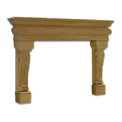 Distinctive Mantel Designs - Montecito Mantel, Stoney Ground, 90 - Traditional and ornate, the Montecito mantel is a beautiful piece of old-world design.  Acanthus leaf legs and flowing curves give the Montecito its elegant charm.  Its depth and presence make it a great centerpiece for any large room.  Perfect for any traditional space.