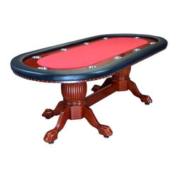 BBO Poker Tables - Rockwell 94 in. Elegant Poker Table - Red (Re - Fabric: Red Suited Speed Cloth10 Player Positions. 4 in. Stainless Steel Cup Holders In 5 in. Mahogany Racetrack. Removable Playing Surface and Armrest. Mahogany Finish With Premium Vinyl Armrest. Oak Ball and Claw Hand-Crafted Table Legs With Middle Board Footrest. Poker Table Dimensions: 94 in. L x 45 in. W x 30 in H.. Dining Table Dimensions: 96 in. L x 48 in. W x 32 in. HLooking for a classic and timeless poker table? Allow us to present, The Rockwell. Like the right bottle of wine or perfect pour of scotch, the Rockwell offers a welcomed and familiar vehicle for the perfect poker evening. Pair it with a matching dining top, and it's the perfect Trojan Horse to sneak a high end poker table into your dining room!The Rockwell features solid oak pedestal legs and 5in racetrack, finished in a mahogany gloss. The 5in armrests are wrapped in premium sponge and heavy duty, premium leather vinyl. The playing surface is removable and easily upgradable for anyone with a staple gun.The Rockwell's classic design ensures that your players never get tired of looking at it (looking at it and losing at it are two different things). Matching chairs and dining top are available to complete the dining configuration of the Rockwell.Remember, all BBO Poker Tables tables ship free and feature our industrys best 1 YEAR WARRANTY