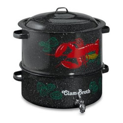 Graniteware - Granite Ware 19-Quart Decorated Clam and Lobster Steamer Pot - Enjoy a clambake, lobster boil or seafood dinner with this large capacity, multi-purpose clam and lobster steamer.