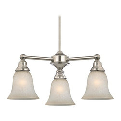Design Classics Lighting - Mini-Chandelier with Brown Art Glass in Satin Nickel Finish - 598-09 GL9222-CAR - Traditional satin nickel 3-light chandelier. Includes one 6-inch and three 12-inch down rods that allow this mini-chandelier to hang at a minimum height of 20-inches up to a maximum of 56-inches. Takes (3) 100-watt incandescent A19 bulb(s). Bulb(s) sold separately. UL listed. Dry location rated.