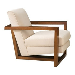 Thayer Coggin - Roger Lounge Chair | Thayer Coggin - Made in the U.S.A. by Thayer Coggin.The Roger Lounge Chair is a blend of classic and modern stylings, marked by Thayer Coggin luxury and imparted with timeless appeal. A thick angular frame in a sturdy wood construction takes a minimalist approach while making an impactful statement. Cleverly cradled in its center is a plushly padded seat and backrest, offering a light contrast to its grounded frame. Handcrafted and hand-upholstered, this quality lounge chair will stand the test of time in your home while easily nestling into a range of spaces and settings from open floor concepts to small reading nooks. Select a fabric or leather upholstery option and wood base pairing for a customized piece that suits your style.