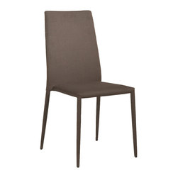 Eurostyle - Eurostyle Chessa Side Chair in Brown Fabric [Set of 4] - Side Chair in Brown Fabric belongs to Chessa Collection by Eurostyle Its a complete design approach for furnishing the living room, dining room, kitchen and office. To keep the cost down, the larger pieces come ready-to-assemble in a carton. Theyre in good shape when you buy them because the pieces are well made, and so are the cartons they come in. Most Euro Style furniture can be assembled in less than fifteen minutes. Some can be assembled in less than five minutes. Assembly instructions and the few tools you might need come inside the carton. Today, there are hundreds of Euro Style products, with new ones arriving every month. The right design, the right price. Brown or Gray woven fabric upholstered over foam. Steel frame; powder-coated legs. Stacking. Fully assembled. Seat height: 18. Durable fabric. No assembly required. Side Chair (4)