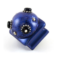 Susan Goldstick - Petit Square #3 Knob Lapis 1.25 Inches - The Petit Square #3 is colored in a rich blend of saturated blues and dappled black. Silver metal beaded details and itty-bitty crystals offer a hint of shimmer.  Suggestions:  Not just for small drawers- consider Petit knobs for cabinets and drawers with narrow paneling and moldings.