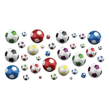 FunToSee - Soccer Balls Nursery and Bedroom Wall Decals - Add a tasteful touch of color to walls and furniture in a nursery, childs bedroom or playroom.