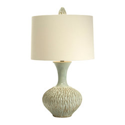Aqua Reef Vase Lamp - A beauteous blend of sea green and ocean blue, the Aqua Reef Vase presents a reef motif rising from the base of the lamp, much as a reef reaches gently upwards from beneath the surface of the sea. Delicate yet vibrant, the lamp boasts a unique finial that, like the base, displays a finely rendered reef detail.