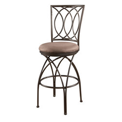 Powell - Powell Big and Tall Metal Crossed Legs Bar Stool in Bronze - Mocha - The big and tall metal crossed legs barstool has a versatile design and style that makes is adaptable to any home decor. The stool has a warm bronze finish and plush tan upholstered seat. Designed to suit people large and small, the seat is a generous size for optimal comfort. The tall back and stool bottom features a sleek crossed design that adds movement and interest to the piece. Perfectly suited for a kitchen bar or high top table.