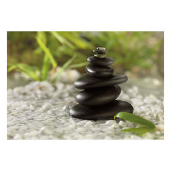 Feng Shui Wall Mural - This stone mural has a soothing feng shui quality. A delicate meditative scene features smooth pebbles balanced into a cairn statue.