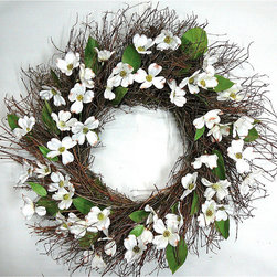 """Frontgate - Silk Brown Wreath - 22"""" - Crafted from a mix of silk and natural materials. Designed for indoor use or protected outdoor display. Extend the life of floral materials by keeping it away from direct sunlight and moisture. Encourage springtime's poise to live year round with a wreath of quail-brush twigs highlighted by white silk dogwood flowers and dried basil salal leaves. Our lasting arrangement is worthy of display in any room, and blends perfectly amongst contemporary or traditional decor alike.. . ."""