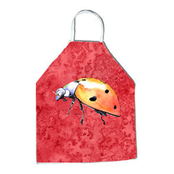 """Caroline's Treasures - Lady Bug on Red Apron 8868APRON - Apron, Bib Style, 27""""H x 31""""W; 100% Ultra Spun Poly, White, braided nylon tie straps, sewn cloth neckband. These bib style aprons are not just for cooking - they are also great for cleaning, gardening, art projects, and other activities, too!"""
