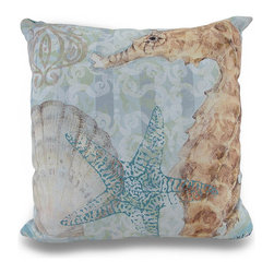 Zeckos - Boho Coastal Seahorse Ocean Themed 18 Inch Indoor / Outdoor Throw Pillow - This 18 inch polyester indoor / outdoor throw pillow adds a wonderful autumn accent to your home. Titled 'Boho Coastal Seahorse', both front and back features a bohemian swirled background, with a seahorse and sea shell themed foreground. Each of these pillows is crafted with pride in the Blue Ridge Mountains of North Carolina, and is a quality accent to your home. This pillow makes a great gift and is sure to be admired.