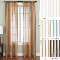 None - Bellino Stripe Rod Pocket 96-inch Panel - Create the perfect decor setting with this pocketed panel. This panel is a sheer window treatment that is available in various colors. It is 53 inches wide and 96 inches long. This curtain panel is made from a mixture of rayon and polyester.