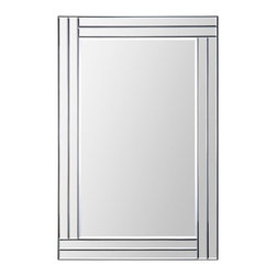 Ren-Wil - Baton Rouge Rectangular Mirror - This contemporary design features a dimensional beveled-mirror  in. step in.  frame that is staggered around the beveled center mirror. With its sleek look and clean lines this mirror is a great look that surely earns the  in. wow in.  factor.