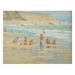 'Reef Point' Framed Oil Painting - A day at the beach! This original piece of artwork by Frank LaLumia is painted in plein air style. Mounted in a gilded wood frame, it looks perfectly at home in your traditional living room or family room.